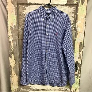 Ralph Lauren   Plaid Blue and White Button-Up